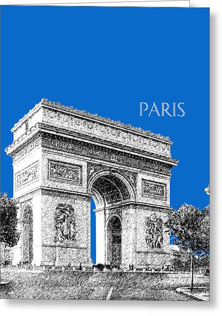 Arc De Triomphe Greeting Cards - Paris Skyline Arc de Triomphe - Blue Greeting Card by DB Artist