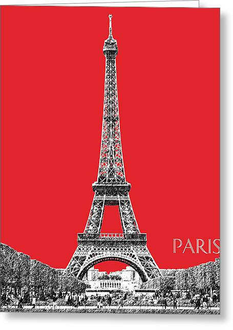 Paris Skyline Eiffel Tower - Red Greeting Card by DB Artist
