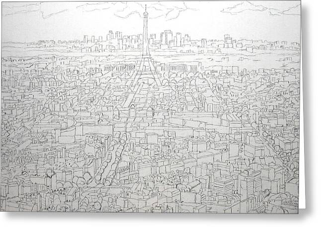 Downtown Drawings Greeting Cards - Paris Skyline - Eiffel Tower Greeting Card by Mike Rabe