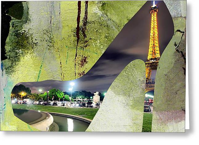 Shoe Greeting Cards - Paris Skyline in a Shoe Greeting Card by Marvin Blaine