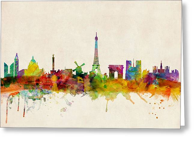 Urban Watercolour Greeting Cards - Paris Skyline Greeting Card by Michael Tompsett