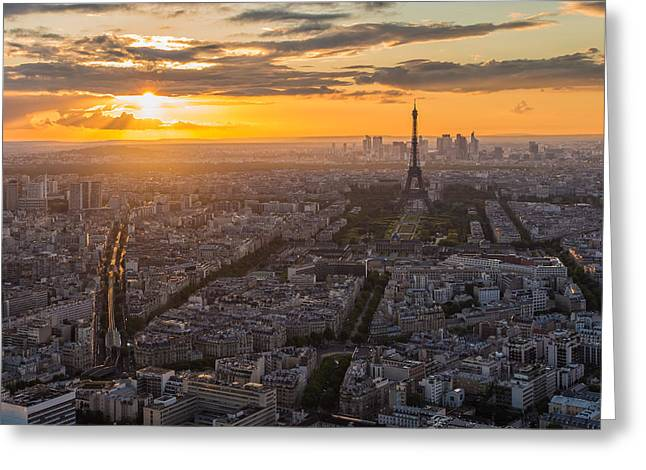 Paris Trees Nature Scenes Greeting Cards - Paris Skyline Greeting Card by Nattee Chalermtiragool