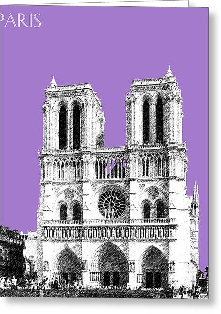 Violet Art Greeting Cards - Paris Skyline Notre Dame Cathedral - Violet Greeting Card by DB Artist