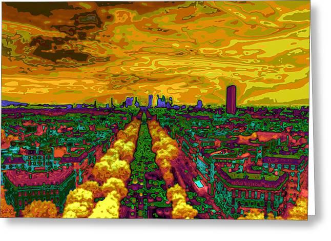 Invalids Greeting Cards - Paris skyline pop art Greeting Card by Eti Reid