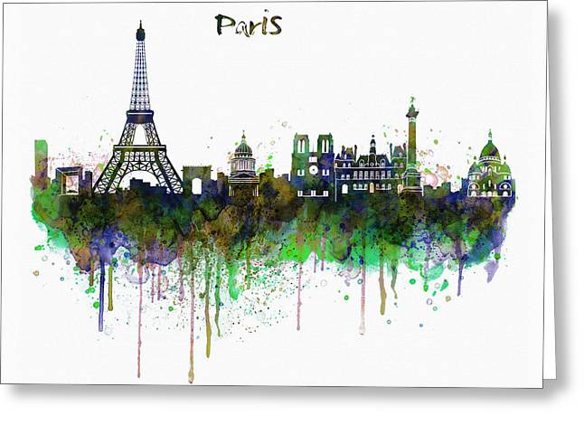 For Modern Decor Greeting Cards - Paris Skyline watercolor Greeting Card by Marian Voicu