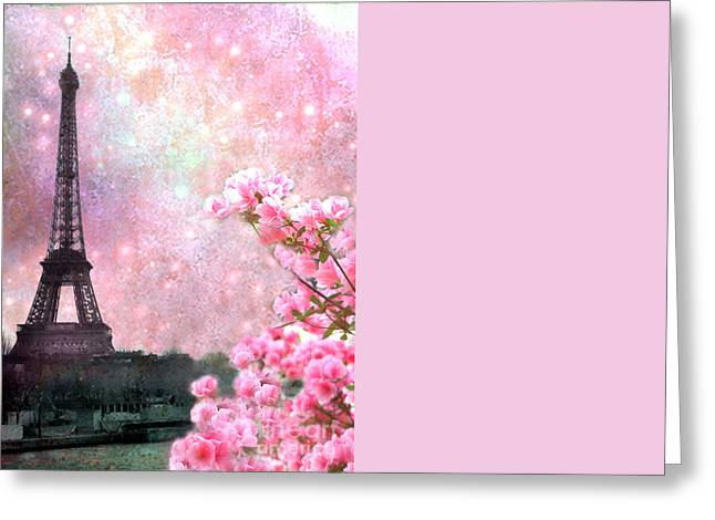 Eiffel Photographs Greeting Cards - Paris Eiffel Tower Cherry Blossoms - Paris Spring Eiffel Tower Pink Blossoms  Greeting Card by Kathy Fornal