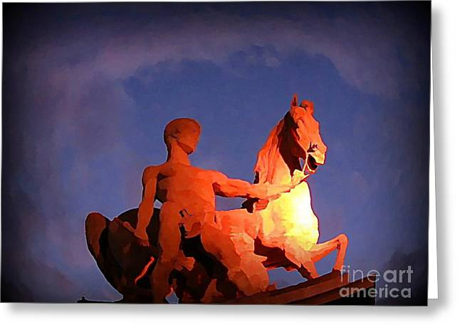 Johnmaloneartist.com Greeting Cards - Paris Statue near Eiffel Tower at Night Greeting Card by John Malone