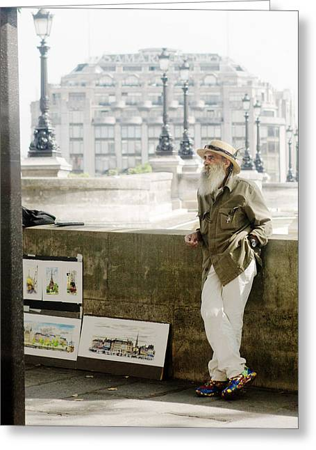 Water Color Artist Greeting Cards - Paris Street Artist Greeting Card by Rebecca Cozart
