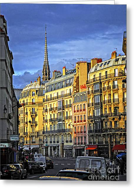 Row Greeting Cards - Paris street at sunset Greeting Card by Elena Elisseeva