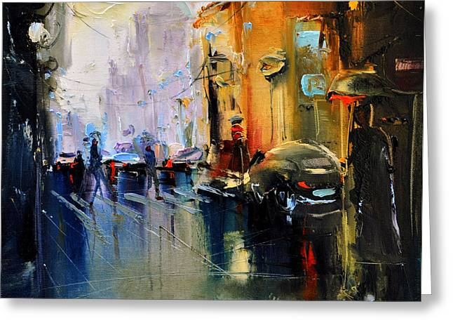 David Figielek Greeting Cards - Paris street Greeting Card by David Figielek
