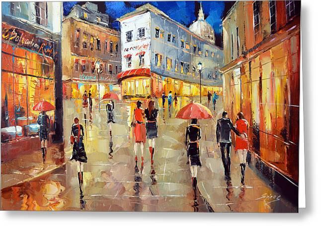 Old Street Greeting Cards - Paris street. Evening Greeting Card by Dmitry Spiros