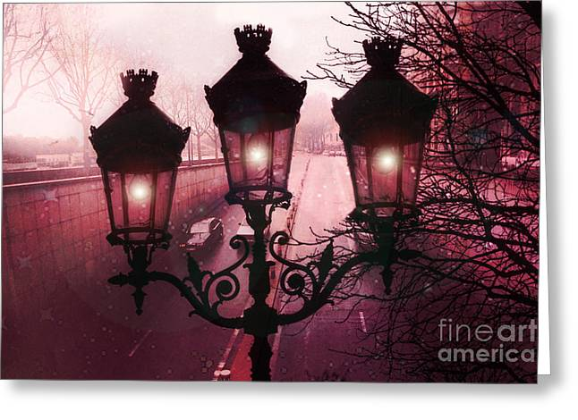 Street Lantern Greeting Cards - Paris Street Lamps Architecture - Paris romantic Dark Rouge Rose Street Lamps Lights and Lanterns  Greeting Card by Kathy Fornal