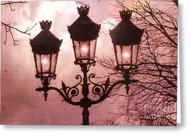 Night Scene Prints Greeting Cards - Paris Street Lanterns - Paris Romantic Dreamy Surreal Pink Paris Street Lamps  Greeting Card by Kathy Fornal