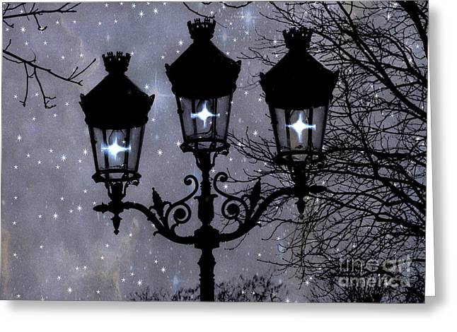 Night Scene Prints Greeting Cards - Paris Street Lights Lanterns - Paris Starry Night Dreamy Surreal Starlit Night Street Lamps of Paris Greeting Card by Kathy Fornal