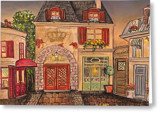 Night Cafe Greeting Cards - Paris Street Scene-B Greeting Card by Jean Plout