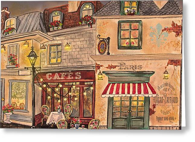 Night Cafe Greeting Cards - Paris Street Scene-C Greeting Card by Jean Plout