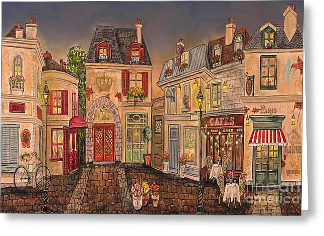 French Bicycle Shop Greeting Cards - Paris Street Scene-D Greeting Card by Jean Plout