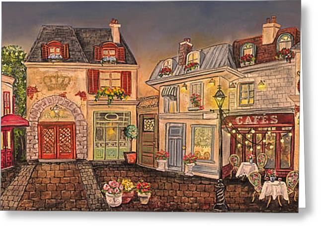 Night Lamp Greeting Cards - Paris Street Scene-E Greeting Card by Jean Plout