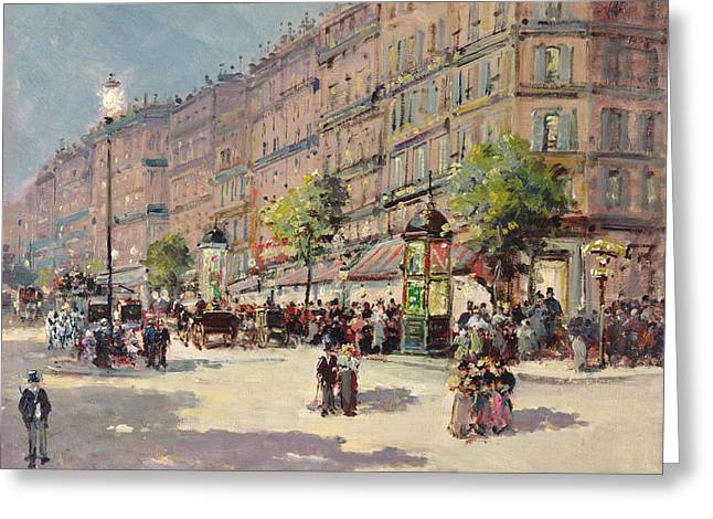 Paris Street Scene Greeting Card by Gustave Mascart