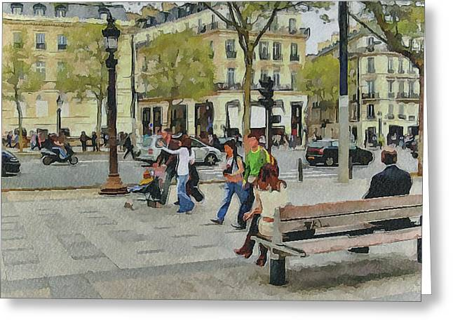 Old Town Digital Art Greeting Cards - Paris Streets 4 Greeting Card by Yury Malkov