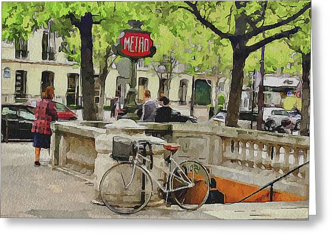 Old Town Digital Greeting Cards - Paris Streets 5 Greeting Card by Yury Malkov