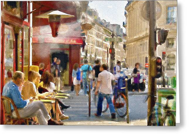 Street Scene Digital Greeting Cards - Paris Streetscape watercolor Greeting Card by Marian Voicu