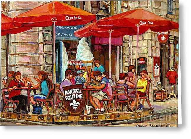 Paris Style Sidewalk Cafe Paintings Le Cremerie Bar Vieux Port Montreal Poutine Red Bistro Umbrellas Greeting Card by Carole Spandau