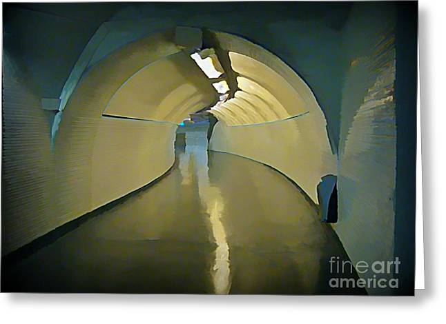 Johnmaloneartist.com Greeting Cards - Paris Subway Connecting Tunnel Greeting Card by John Malone