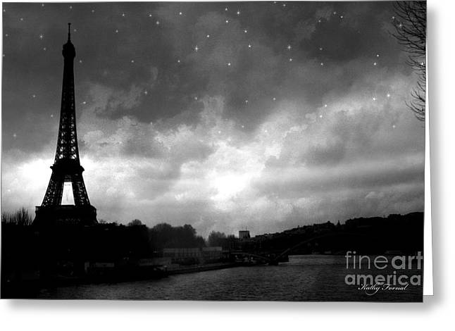 Surreal Images Greeting Cards - Paris Surreal Dark Eiffel Tower Black White Starlit Night Scene - Eiffel Tower Black and White Photo Greeting Card by Kathy Fornal