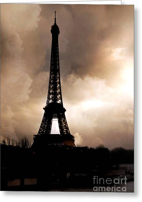 Sepia Prints Greeting Cards - Paris Surreal Dreamy Eiffel Tower Sepia Print With Storm Clouds Greeting Card by Kathy Fornal