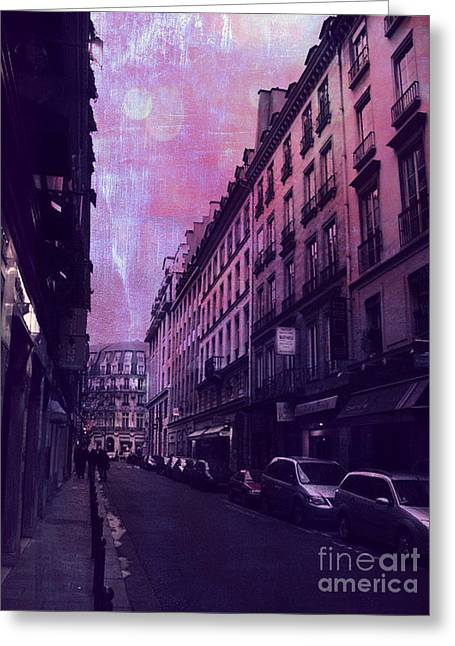 Fantasy Surreal Fine Art By Kathy Fornal Greeting Cards - Paris Surreal Street Photography - Paris Fantasy Purple Street Scene  Greeting Card by Kathy Fornal