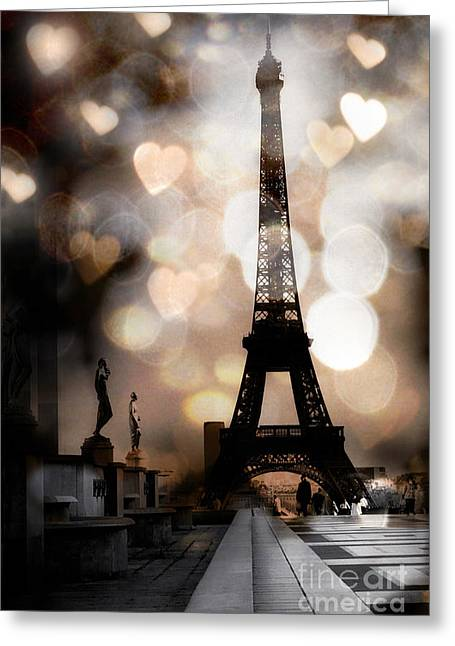Eiffel Tower Greeting Cards - Paris Surreal Fantasy Sepia Black Eiffel Tower Bokeh Hearts and Circles - Paris Sepia Fantasy Nights Greeting Card by Kathy Fornal