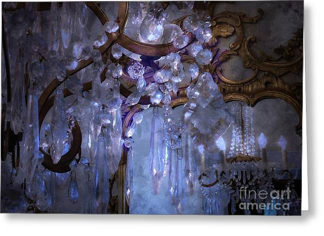 Paris In Blue Greeting Cards - Paris Surreal Haunting Crystal Chandelier Mirrored Reflection - Dreamy Blue Crystal Chandelier  Greeting Card by Kathy Fornal