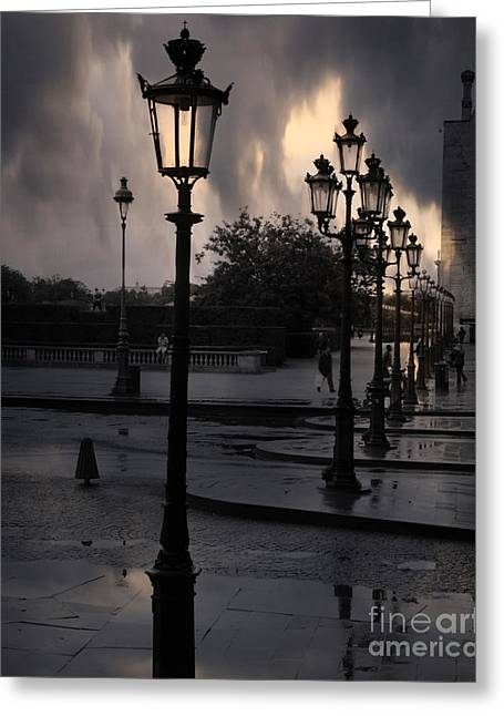 Street Lantern Greeting Cards - Paris Surreal Louvre Museum Street Lanterns Lamps - Paris Gothic Street Lamps Black Clouds Greeting Card by Kathy Fornal