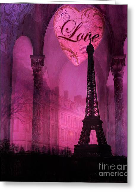 Dreamy Digital Art Greeting Cards - Paris Surreal Pink Fantasy Paris Eiffel Tower Architecture Montage - Love Heart Paris  Greeting Card by Kathy Fornal