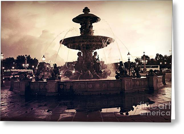 Paris Surreal Place De La Concorde Fountain - Paris Sunset Sepia Night Lights Fountain Square Greeting Card by Kathy Fornal