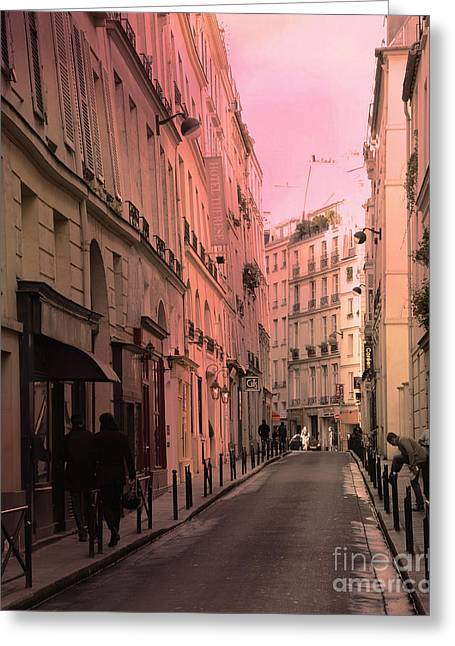 Surreal Paris Fine Art By Kathy Fornal Greeting Cards - Paris Romantic Street Photography - Dreamy Paris Street Scene With Pink Sky Sunset Greeting Card by Kathy Fornal