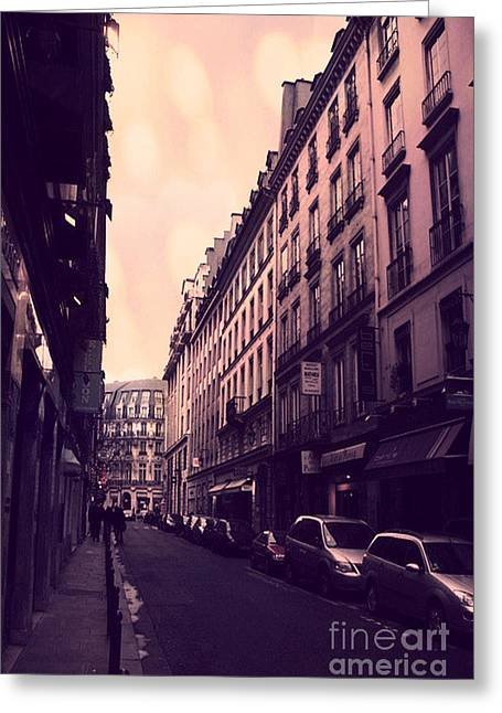 Art Nouveau Greeting Cards - Paris Surreal Street Photography - Dreamy Paris Street Scene With Pink Sky Sunset  Greeting Card by Kathy Fornal