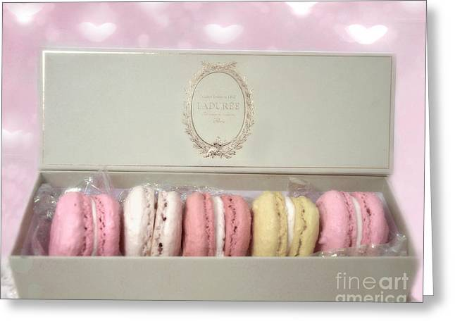 Food Photography Greeting Cards - Paris - The Laduree Tea Shop and Patisserie - Dreamy Laduree Box of French Macarons  Greeting Card by Kathy Fornal