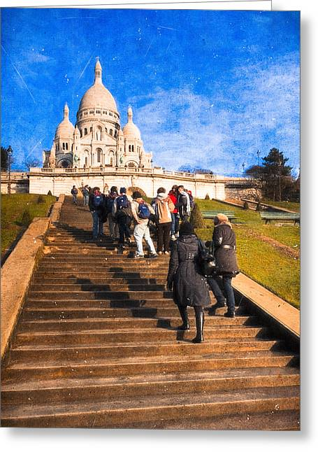 Byzantine Greeting Cards - Paris - The Long Climb to Sacre Coeur Greeting Card by Mark Tisdale
