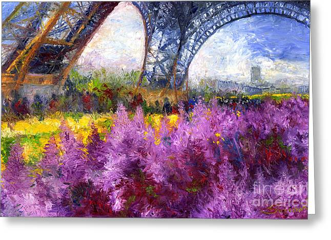 Streetscape Paintings Greeting Cards - Paris Tour Eiffel 01 Greeting Card by Yuriy  Shevchuk