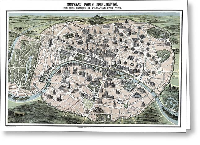 Hand Drawn Photographs Greeting Cards - Paris Tourist Map 1878 Greeting Card by Daniel Hagerman