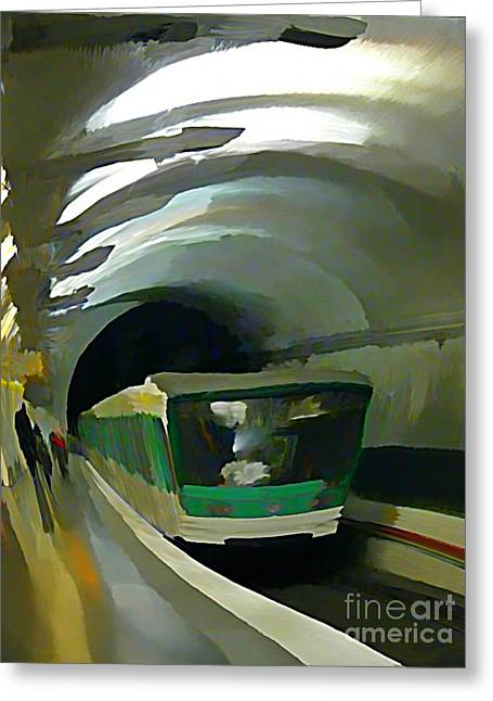 Johnmaloneartist.com Greeting Cards - Paris Train in Fisheye Perspective Greeting Card by John Malone