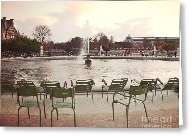 Paris Tuileries Garden Park Fountain Green Chairs - Paris Autumn Fall Tuileries - Autumn In Paris Greeting Card by Kathy Fornal
