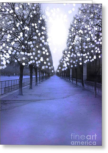 Paris Tuileries Row Of Trees - Purple Lavender Sparkling Twinkling Lights - Paris Sparkling Lights  Greeting Card by Kathy Fornal