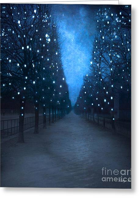 Night Scene Prints Greeting Cards - Paris Tuileries Trees - Blue Surreal Fantasy Sparkling Trees - Paris Tuileries Park Greeting Card by Kathy Fornal