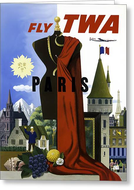 Vintage Travel Greeting Cards - Paris TWA Greeting Card by Mark Rogan