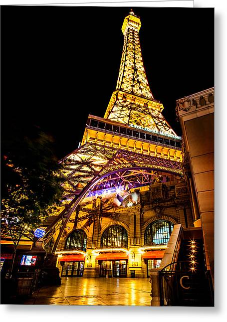 Las Vegas Greeting Cards - Paris Under The Tower Greeting Card by Az Jackson