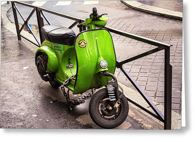 Motor Scooters Greeting Cards - Paris Vespa Greeting Card by Nomad Art And  Design