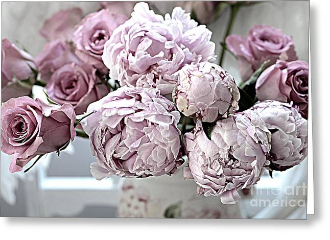 Rose Photos Greeting Cards - Paris Vintage Style Peonies Art - Parisian French Peonies and Roses - Lavender Peonies and Roses Greeting Card by Kathy Fornal